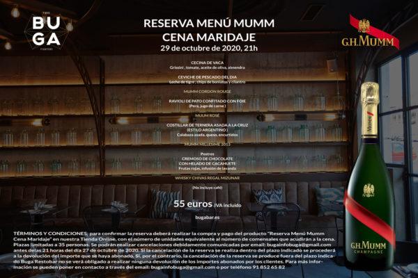 Reserva Menú Mumm Cena Maridaje - Buga Restobar